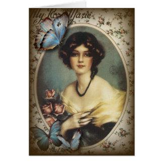 Posh Vintage Butterfly Paris Lady Fashion Card