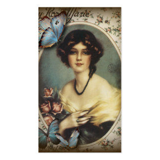 Posh Vintage Butterfly Paris Lady Fashion Pack Of Standard Business Cards