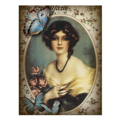 Posh Vintage Butterfly Paris Lady Fashion Postcards