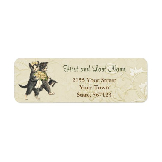 Posh Wedding Cats Ivory Floral Address Label