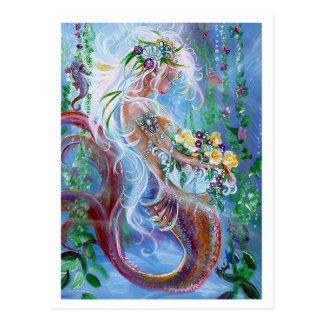 Posies and Pearls, Mermaid art Postcard