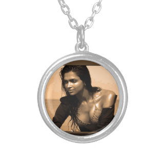 Posing Confident Expressions by Deepaka Bollywood Round Pendant Necklace