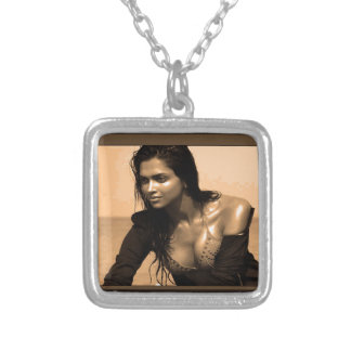 Posing Confident Expressions by Deepaka Bollywood Square Pendant Necklace
