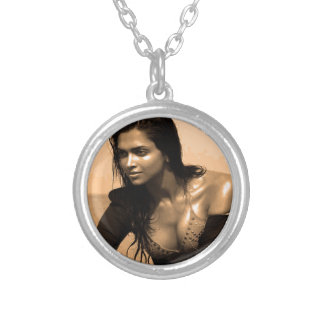 Posing confident Indian Bollywood  beauty deepika Round Pendant Necklace