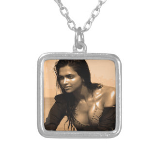 Posing confident Indian Bollywood  beauty deepika Square Pendant Necklace