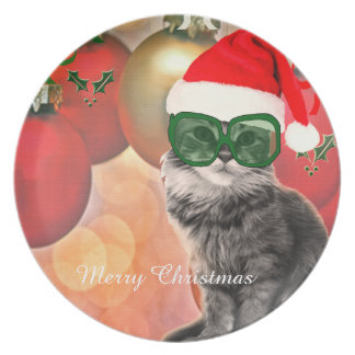 Posing Santa Cat with Santa Claus hat Party Plates