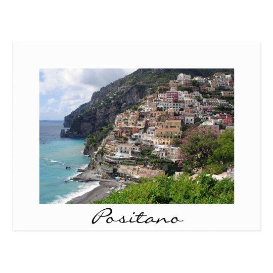 Positano town at the Amalfi coast white postcard