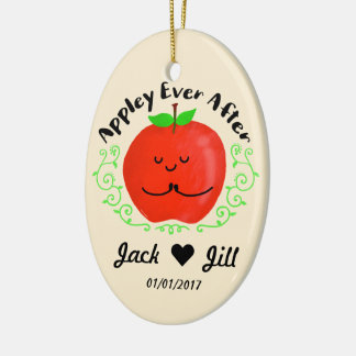 Positive Apple Pun - Appley Ever After Christmas Ornament