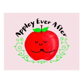 Positive Apple Pun - Appley Ever After Postcard