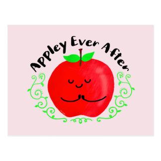Positive Apple Pun - Appley Ever After Postcard