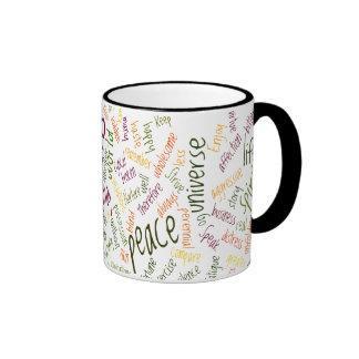 Positive attitude Desidera(R)ta word-art Ringer Mug