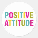 Positive Attitude in bright colours Round Sticker