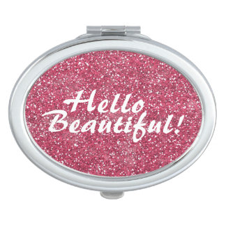 Positive Beautiful Affirmation Pink Glitter Vanity Mirror