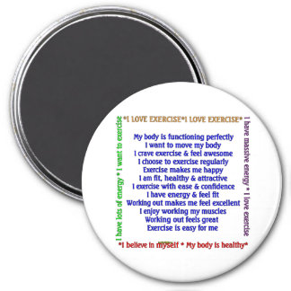 Positive Exercise Affirmations 7.5 Cm Round Magnet