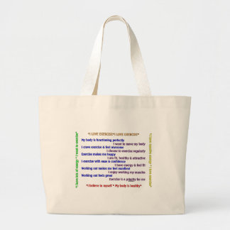 Positive Exercise Affirmations Large Tote Bag