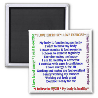Positive Exercise Affirmations Magnet