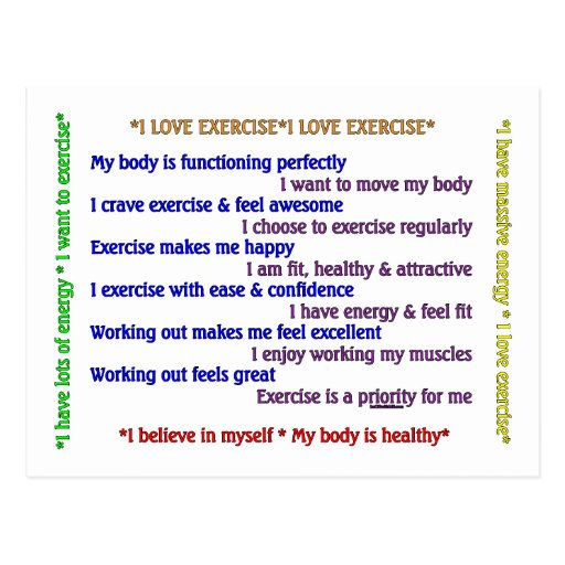 Positive Exercise Affirmations Post Card