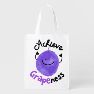 Positive Grape Pun - Achieve Grapeness Reusable Grocery Bag