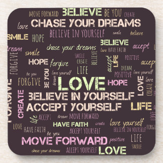 Positive life word cloud coasters set of 6