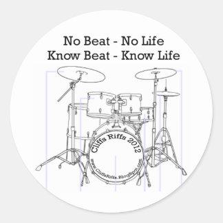 Positive message for drummers, musicians, dancers round sticker