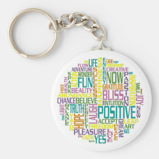 Positive, motivating and inspirational words basic round button key ring