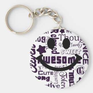Positive qualities you have Smiley Basic Round Button Key Ring