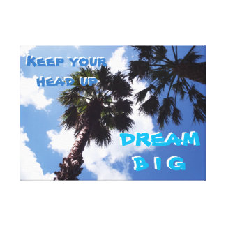 Positive Quote And Palm Trees Canvas Print