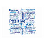 Positive Thinking Word Cloud - Blue Colours Postcards