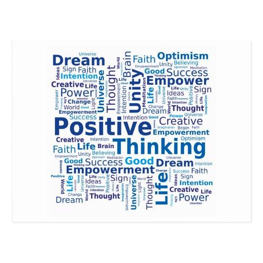 Positive Thinking Word Cloud - Blue Colours Postcard