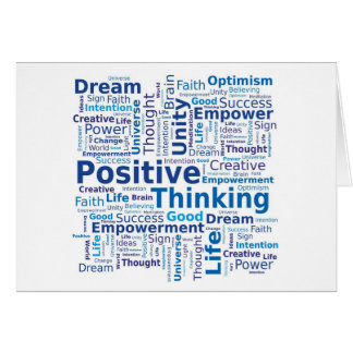 Positive Thinking Word Cloud in Blue Colors Greeting Card