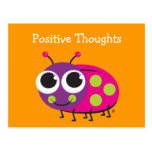 Positive Thoughts Cute Ladybug Card Post Card