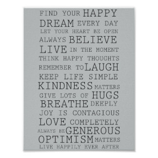 Positive Thoughts Inspirational Words Poster