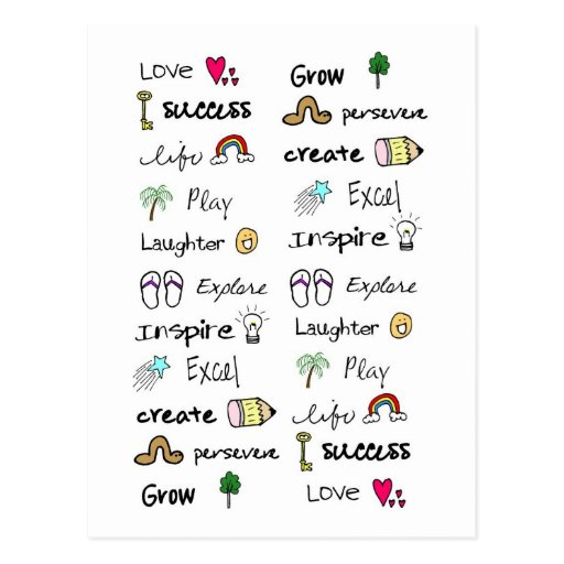 Positive Words Post Cards