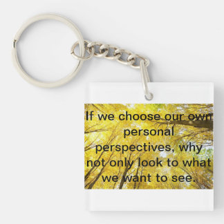 Positive words Single-Sided square acrylic key ring