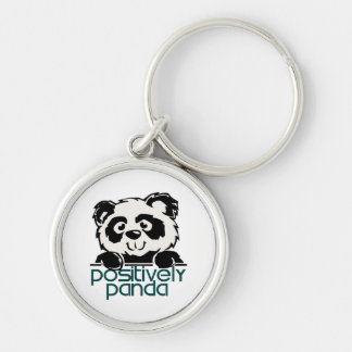 Positively Panda Silver-Colored Round Key Ring