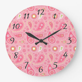 Positively Pink Paisley Large Clock