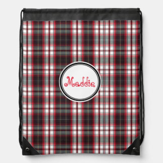 Positively Plaid Nylon Drawstring Bag