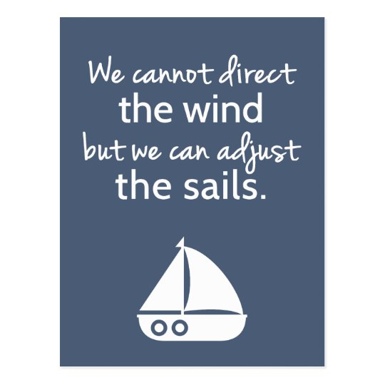 Positivity Mindset Nautical Sail boat Quote Postcard