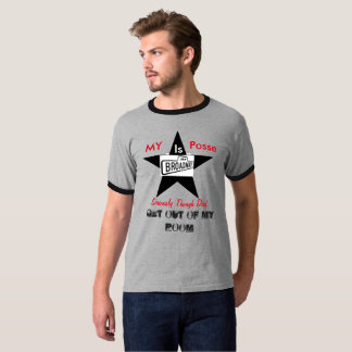 Posse On Broadway Dad Out of Room Funny Ringer T T-Shirt