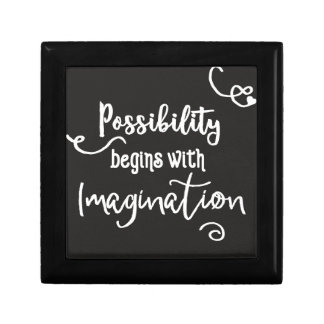 Possibility Begins Motivational Chalkboard Text Gift Box