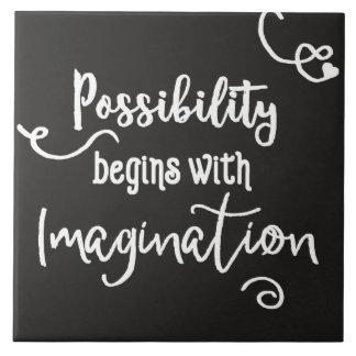 Possibility Begins Motivational Chalkboard Text Tile