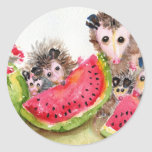 Possum Family Picnic Round Sticker