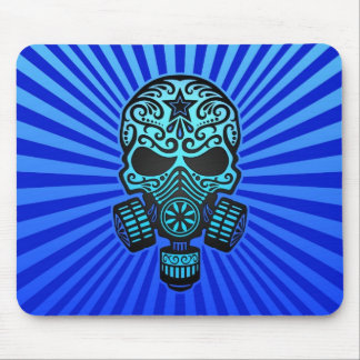 Post Apocalyptic Sugar Skull blue Mouse Pads