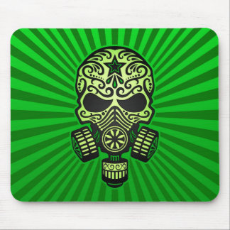 Post Apocalyptic Sugar Skull green Mouse Pads