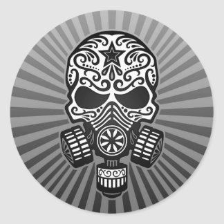 Post Apocalyptic Sugar Skull, grey Classic Round Sticker