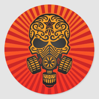 Post Apocalyptic Sugar Skull, red and yellow Round Sticker