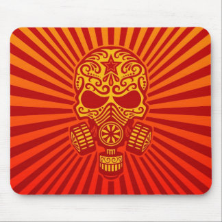 Post Apocalyptic Sugar Skull red Mousepads