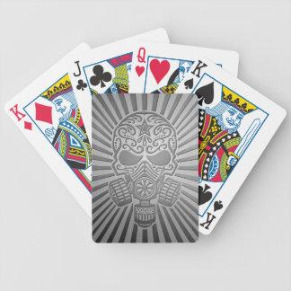 Post Apocalyptic Sugar Skull, steel effect Poker Deck