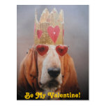 Post Card Basset Hound King, Be My Valentine