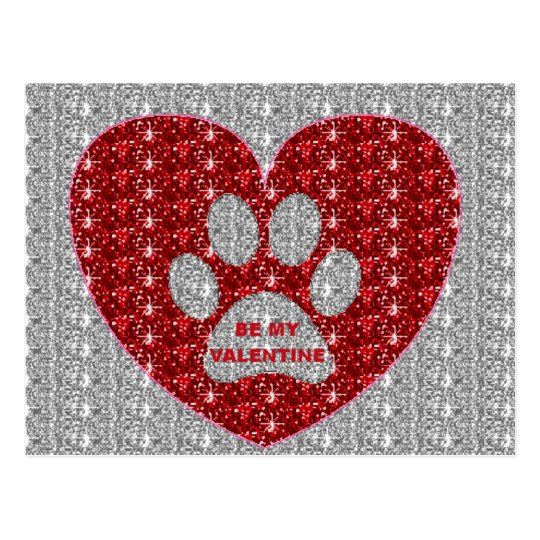 Post Card Paw Heart Red Silver Be My Valentine